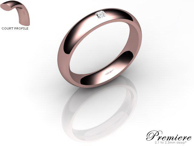 Men's Single Diamond 18ct. Rose Gold 4mm. Court Wedding Ring