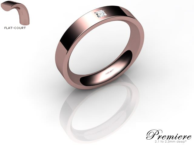 Men's Single Diamond 18ct. Rose Gold 4mm. Flat-Court Wedding Ring