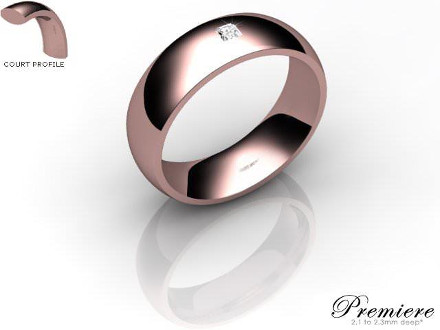 Men's Single Diamond 18ct. Rose Gold 6mm. Court Wedding Ring