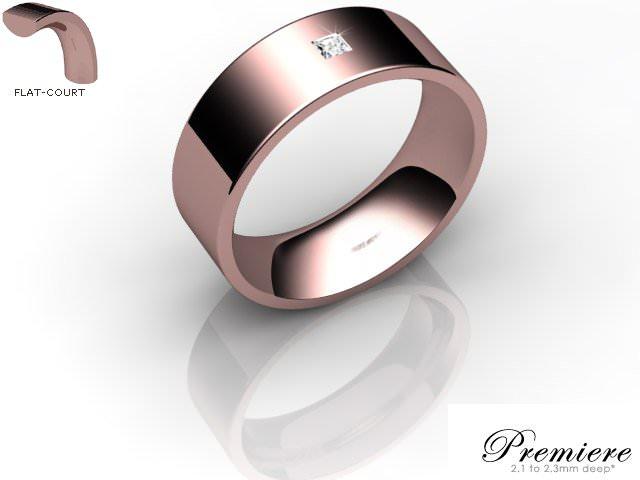 Men's Single Diamond 18ct. Rose Gold 7mm. Flat-Court Wedding Ring