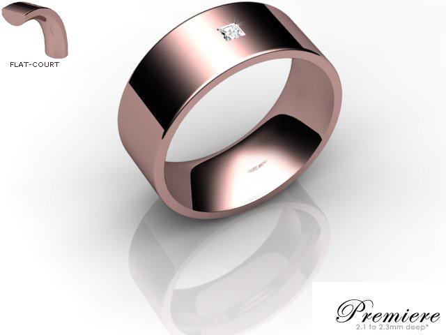 Men's Single Diamond 18ct. Rose Gold 8mm. Flat-Court Wedding Ring