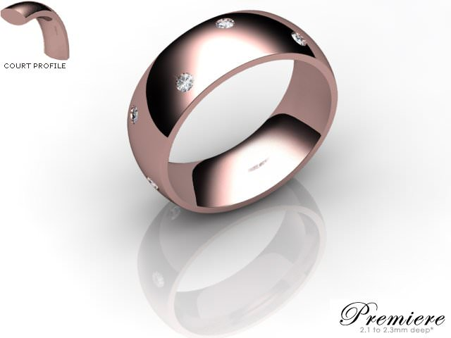 Men's Diamond Scatter 18ct. Rose Gold 7mm. Court Wedding Ring