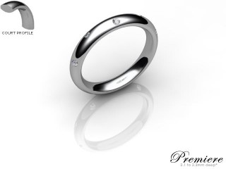 Men's Diamond Scatter 18ct. White Gold 3mm. Court Wedding Ring-18WG10D-3CXG