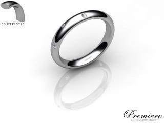 Women's Diamond Scatter 18ct. White Gold 3mm. Court Wedding Ring-18WG10D-3CXL