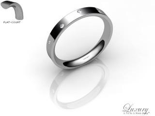 Women's Diamond Scatter 18ct. White Gold 3mm. Flat-Court Wedding Ring-18WG10D-3FCHL