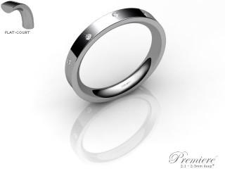 Women's Diamond Scatter 18ct. White Gold 3mm. Flat-Court Wedding Ring-18WG10D-3FCXL