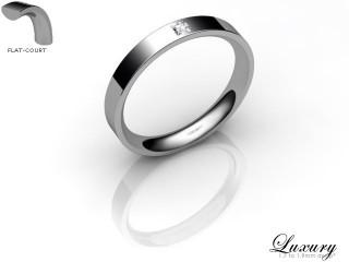 Women's Single Diamond 18ct. White Gold 3mm. Flat-Court Wedding Ring-18WG1XPD-3FCHL
