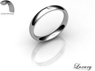 Women's Single Diamond 18ct. White Gold 3mm. Court Wedding Ring-18WG1XRD-3CHL