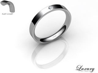 Women's Single Diamond 18ct. White Gold 3mm. Flat-Court Wedding Ring-18WG1XRD-3FCHL