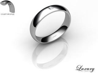 Women's Single Diamond 18ct. White Gold 4mm. Court Wedding Ring-18WG1XRD-4CHL