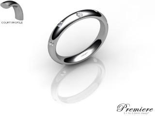 Men's Diamond Scatter 18ct. White Gold 3mm. Court Wedding Ring-18WG25D-3CXG
