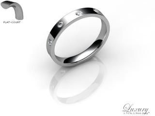 Women's Diamond Scatter 18ct. White Gold 3mm. Flat-Court Wedding Ring-18WG25D-3FCHL