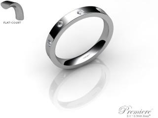 Men's Diamond Scatter 18ct. White Gold 3mm. Flat-Court Wedding Ring-18WG25D-3FCXG