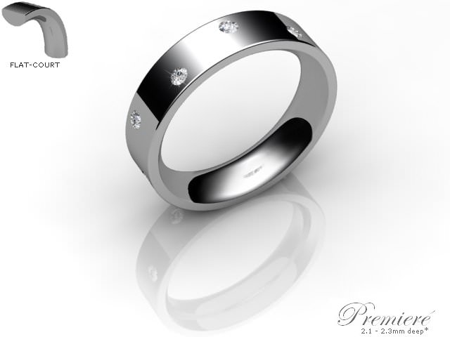 Men's Diamond Scatter 18ct. White Gold 5mm. Flat-Court Wedding Ring