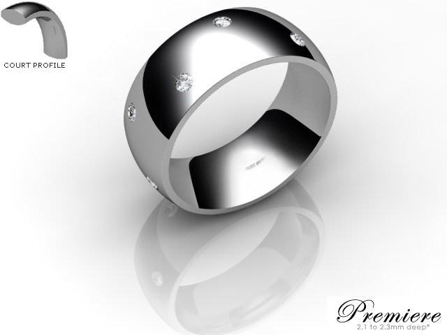 Men's Diamond Scatter 18ct. White Gold 8mm. Court Wedding Ring
