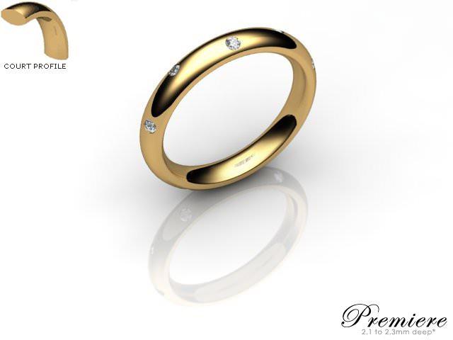 Women's Diamond Scatter 18ct. Yellow Gold 3mm. Court Wedding Ring