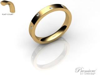 Women's Diamond Scatter 18ct. Yellow Gold 3mm. Flat-Court Wedding Ring-18YG10D-3FCXL