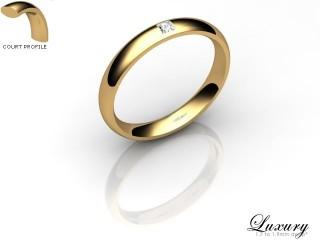 Women's Single Diamond 18ct. Yellow Gold 3mm. Court Wedding Ring-18YG1XPD-3CHL