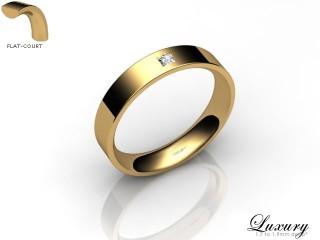 Women's Single Diamond 18ct. Yellow Gold 4mm. Flat-Court Wedding Ring-18YG1XPD-4FCHL