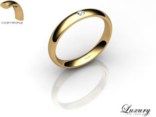 Women's Single Diamond 18ct. Yellow Gold 3mm. Court Wedding Ring-18YG1XRD-3CHL