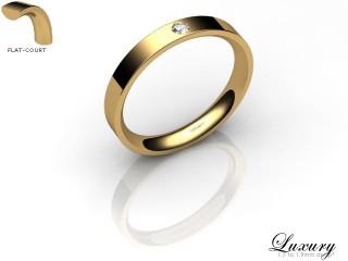 Women's Single Diamond 18ct. Yellow Gold 3mm. Flat-Court Wedding Ring-18YG1XRD-3FCHL