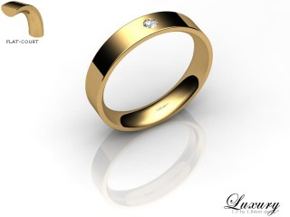 Women's Single Diamond 18ct. Yellow Gold 4mm. Flat-Court Wedding Ring-18YG1XRD-4FCHL