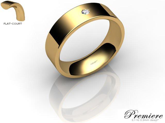 Men's Single Diamond 18ct. Yellow Gold 6mm. Flat-Court Wedding Ring