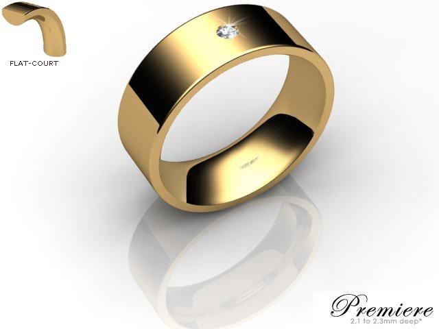 Men's Single Diamond 18ct. Yellow Gold 7mm. Flat-Court Wedding Ring