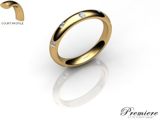 Men's Diamond Scatter 18ct. Yellow Gold 3mm. Court Wedding Ring-18YG25D-3CXG