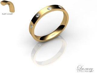 Women's Diamond Scatter 18ct. Yellow Gold 3mm. Flat-Court Wedding Ring-18YG25D-3FCHL