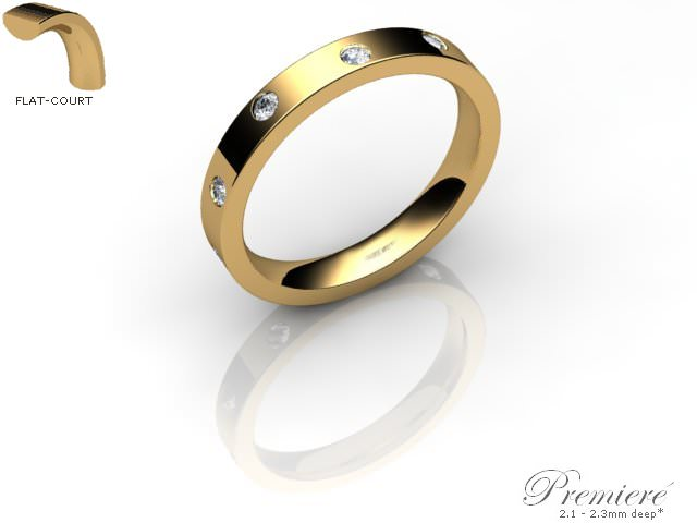 Men's Diamond Scatter 18ct. Yellow Gold 3mm. Flat-Court Wedding Ring