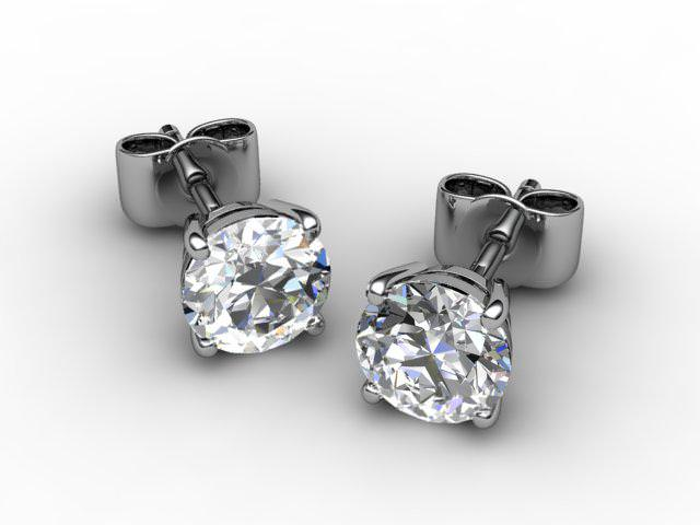 Platinum Classic 4 Claw Round Diamond Stud Earrings - Main Picture