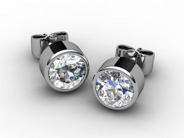 Platinum Rub-Over Round Diamond Stud Earrings
