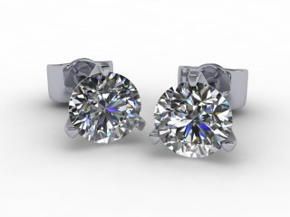 Platinum Contempory 3 Claw Round Diamond Stud Earrings-20-01013