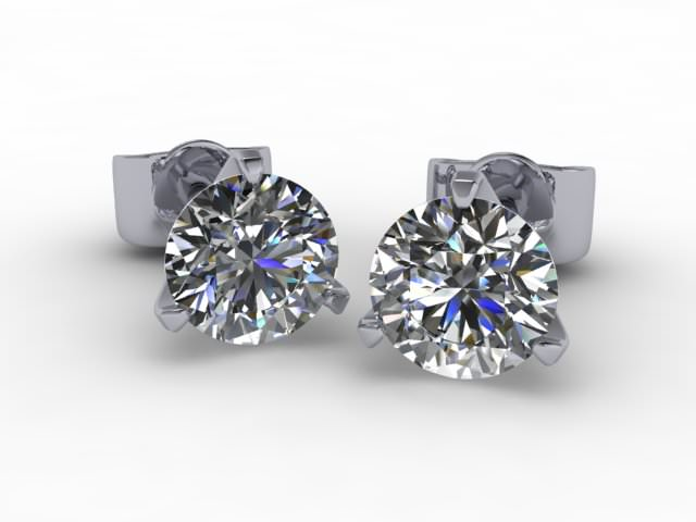 Platinum Contempory 3 Claw Round Diamond Stud Earrings