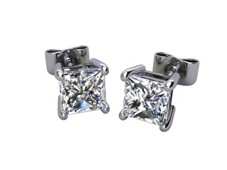 Platinum Classic 4 Claw Princess Diamond Stud Earrings-20-01937