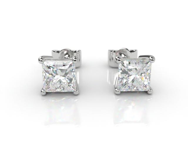 Platinum Classic 4 Claw Princess Diamond Stud Earrings