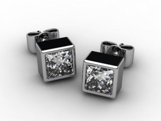 18ct. White Gold Rub-Over Princess Diamond Stud Earrings-20-05008