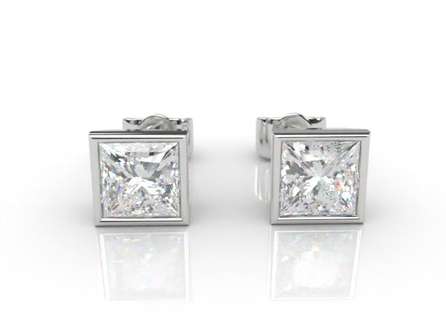 18ct. White Gold Rub-Over Princess Diamond Stud Earrings