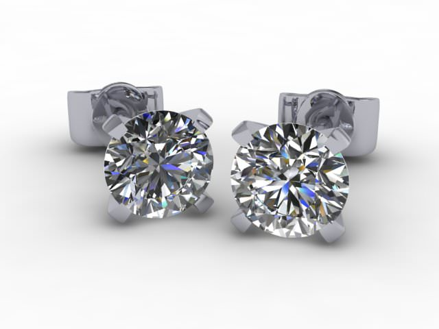 18ct. White Gold Our Signature Setting Round Diamond Stud Earrings