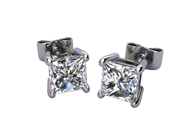 18ct. White Gold Classic 4 Claw Princess Diamond Stud Earrings