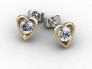 18ct. Yellow Gold Heart Shape Setting Round Diamond Stud Earrings
