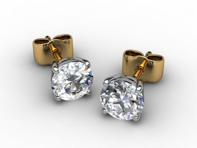 18ct. Gold Classic 4 Claw Round Diamond Stud Earrings