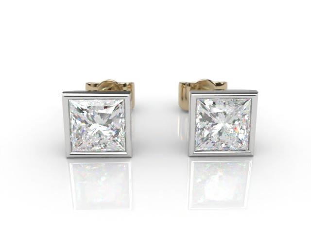 18ct. Gold Rub-Over Princess Diamond Stud Earrings