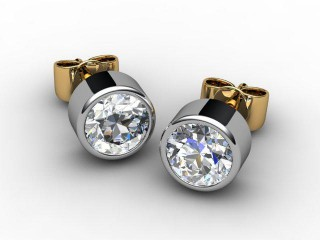 18ct. Gold Rub-Over Round Diamond Stud Earrings-20-28011