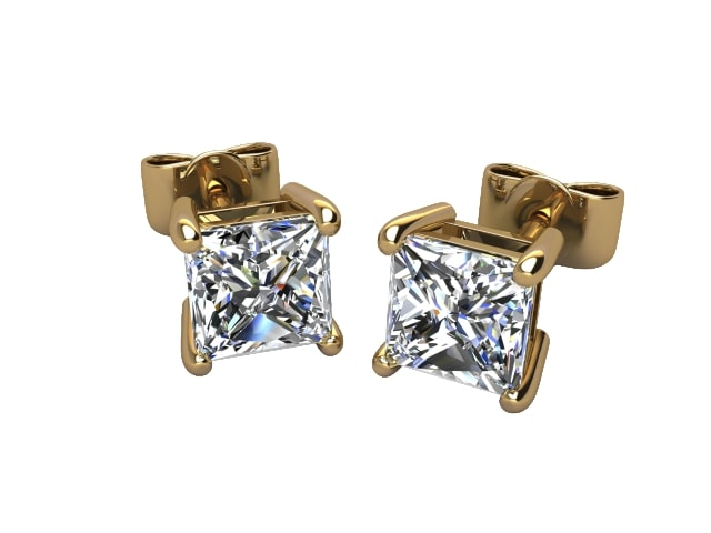 18ct. Gold Classic 4 Claw Princess Diamond Stud Earrings