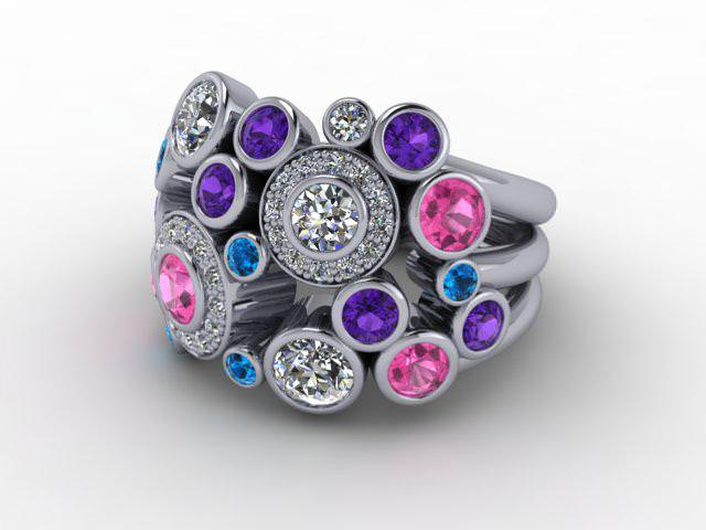18ct. White Gold Diamond & Coloured Stones
