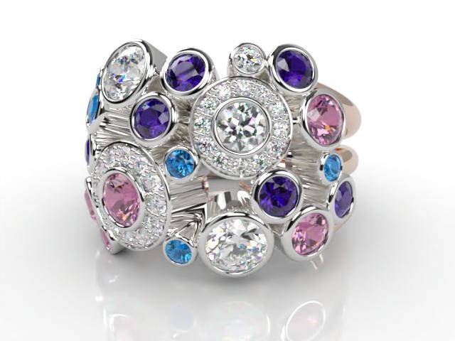 18ct. Rose & White Gold Diamond & Coloured Stones