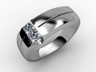 Single Stone Diamond Men's Ring in Platinum