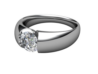 Single Stone Diamond Men's Ring in 18ct. White Gold-69-05011
